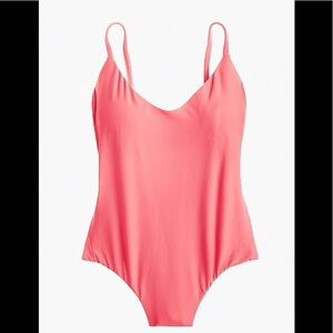 J Crew Ruched Back OnePiece swimsuit Neon Flamingo